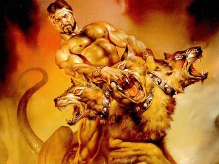 Hercules & Cerberus by Boris Vallejo